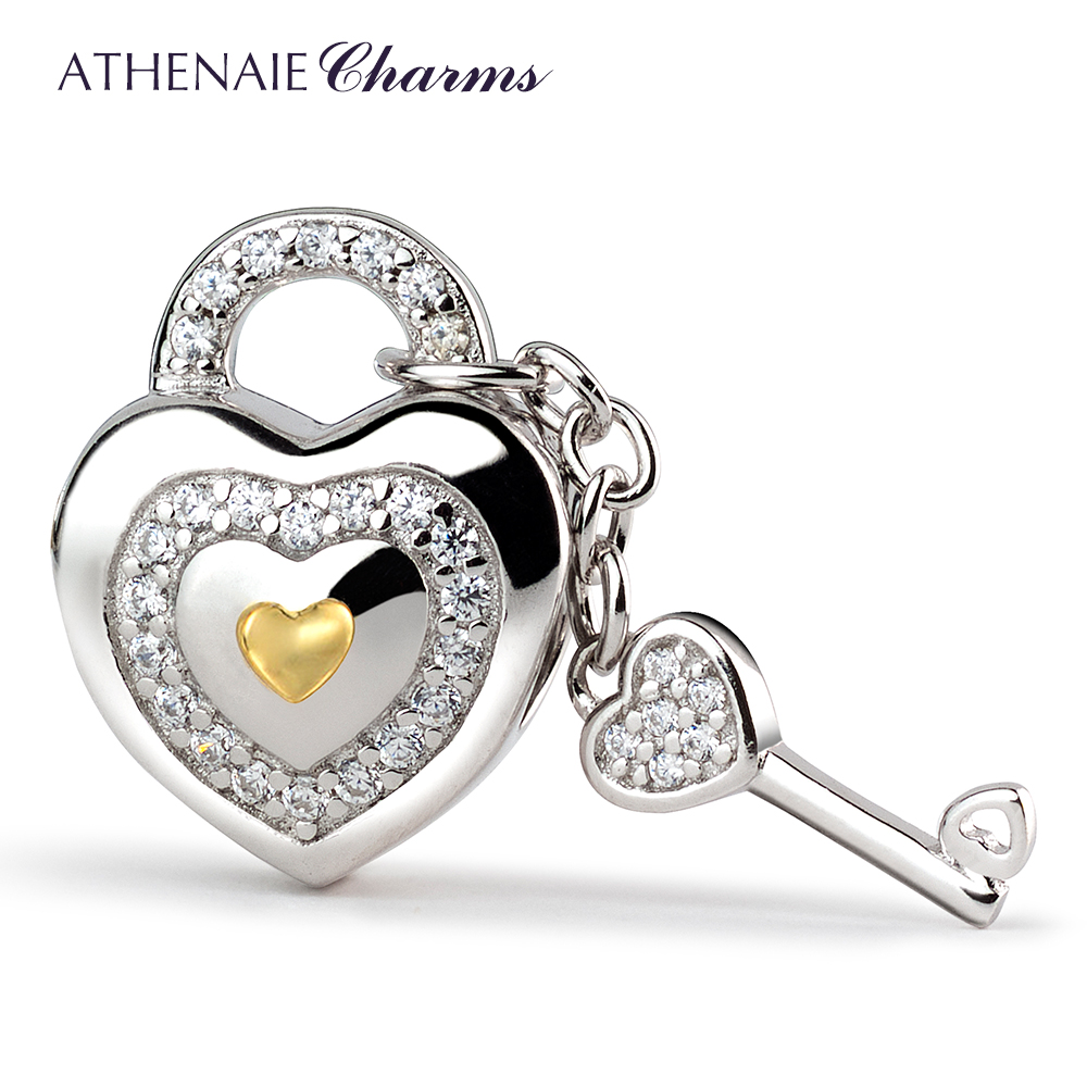 ATHENAIE 925 Silver with Pave Clear CZ Lock of Love Charm Beads Fit All European Bracelets Gift For Christmas , Valentine's Da
