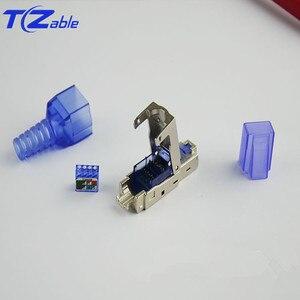 Image 4 - RJ45 Cat7 konektörü 10Gbps Ethernet kalkanı ağ fiş sıkma RJ45 yeniden kullanılabilir Ethernet kablosu Cat6 adaptörü kristal konektörler