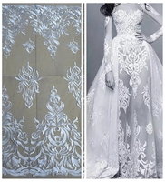 New fashion show off whites mesh embroidered wedding (bridel) dress lace fabric 51'' width yard