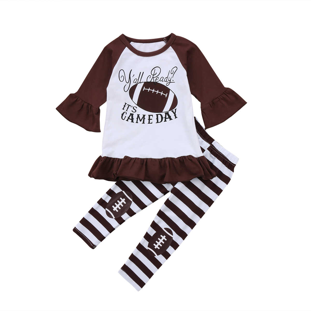 2018 Toddler Kids Baby Girl Clothes Outfit Long Sleeves Football Sport Top+Stripe Legging Pants Clothes Flare Cute Set