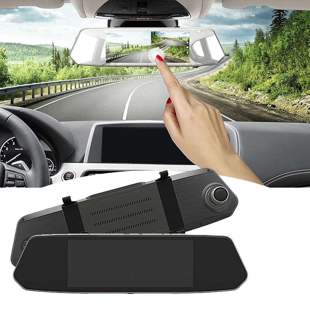 2.5D Glass Automobile Data Recorder 7 Inch IPS Rearview Mirror Double Camera HD Touch Screen Driving Recorder