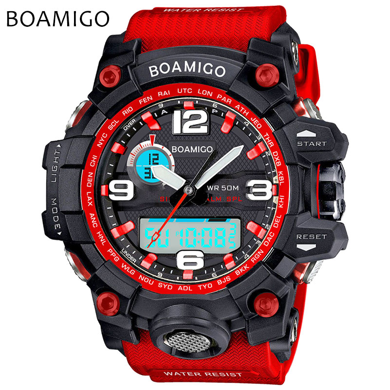 Men Sports Watches BOAMIGO Brand Electronic Quartz Watches Male Analog Digital LED 50M Waterproof Wristwatch Relogio Masculino