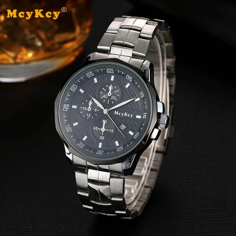 MCYKCY Luxury Brand Men Fashion Leather Watch Sport Casual Quartz Watches For Men Date Day Calendar Casual Clock Military Watch
