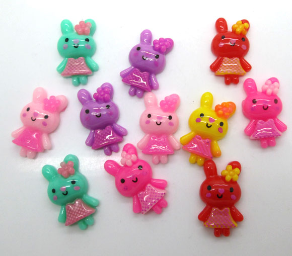 50Pcs Resin Mixed Rabbit Decoration Crafts Flatback Cabochon Scrapbooking Fit Hair Clips Embellishments Beads Diy