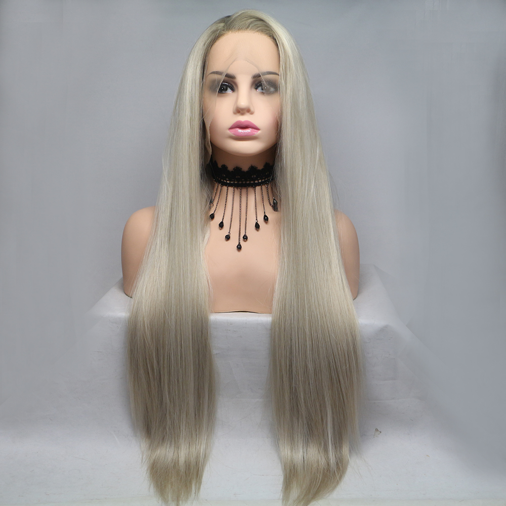 Fantasy Beauty Glueless Blonde Ombre Lace Front Wigs Synthetic,Realistic Looking Side Part Long Straight Dark Roots Mixed Color
