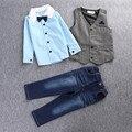 Ropa de los muchachos 3 Unids Camisa Chaleco Jean Pant Boy ropa set vetement enfant Primavera Niños Del Otoño Fijados