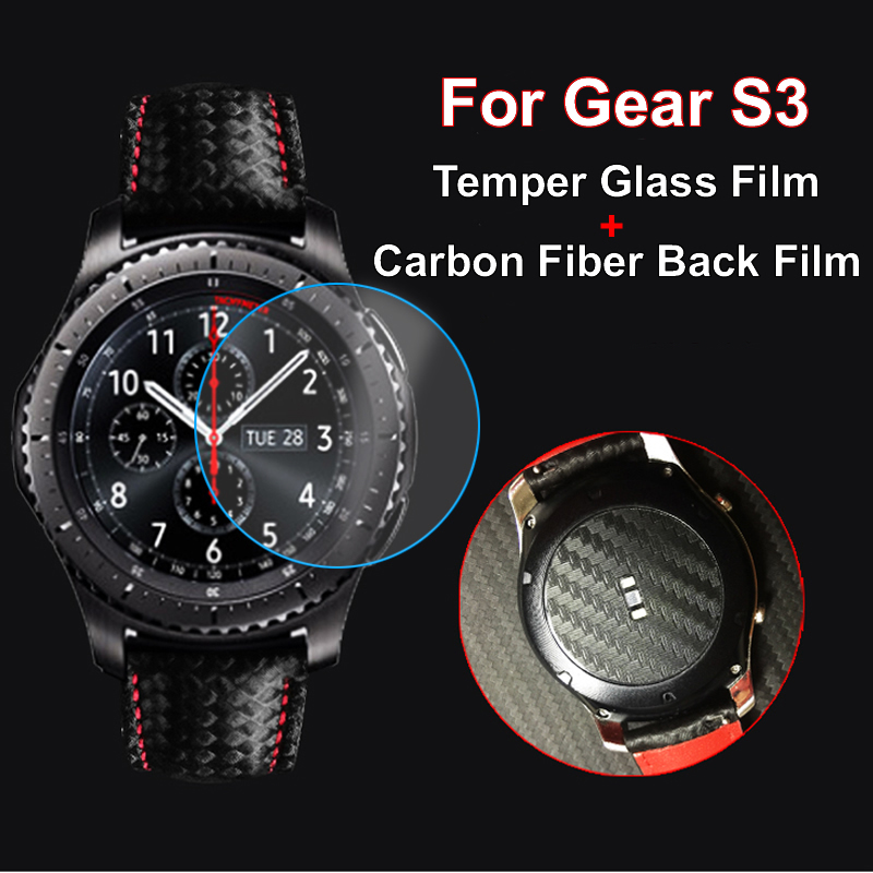 2/set Tempered Glass With Carbon Fiber Back Screen Protective Film Cover For Samsung Gear S3 Classic Frontier Watch Back Film