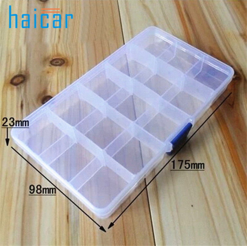 Haicar 15 Slots Adjustable Plastic Fishing Lure Hook Tackle Box Storage Case Organizer fishing box u70601 LE2