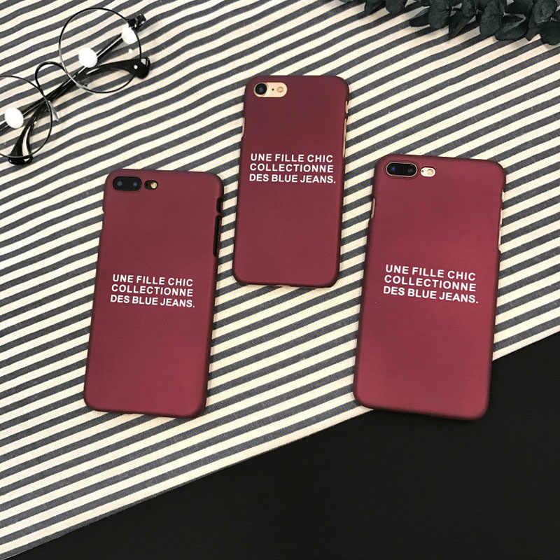 2018 חדש אופנה צרפתית מכתב פלסטיק מט לשפשף קשה יין אדום טלפון מקרה עבור iPhone 6 s 6 בתוספת 7 בתוספת 8 בתוספת קאפה Coque Funda