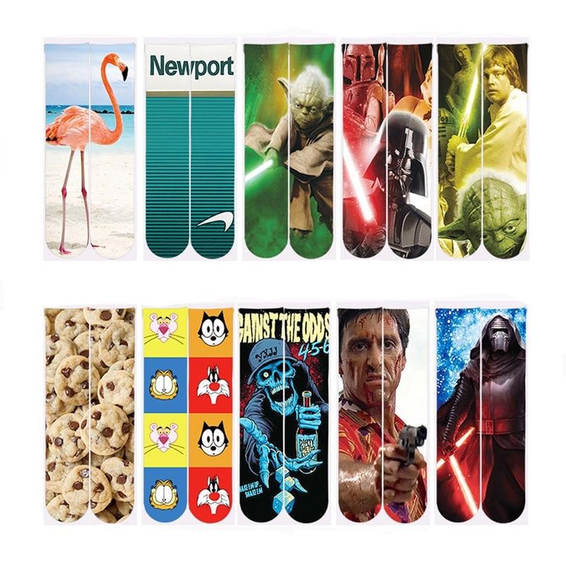 2018 Harajuku Sock Men/Women 3d Swan Ankle Socks Regular Polyester Cotton Funny Sock Unisex 3d Star War Printed Ankle Socks
