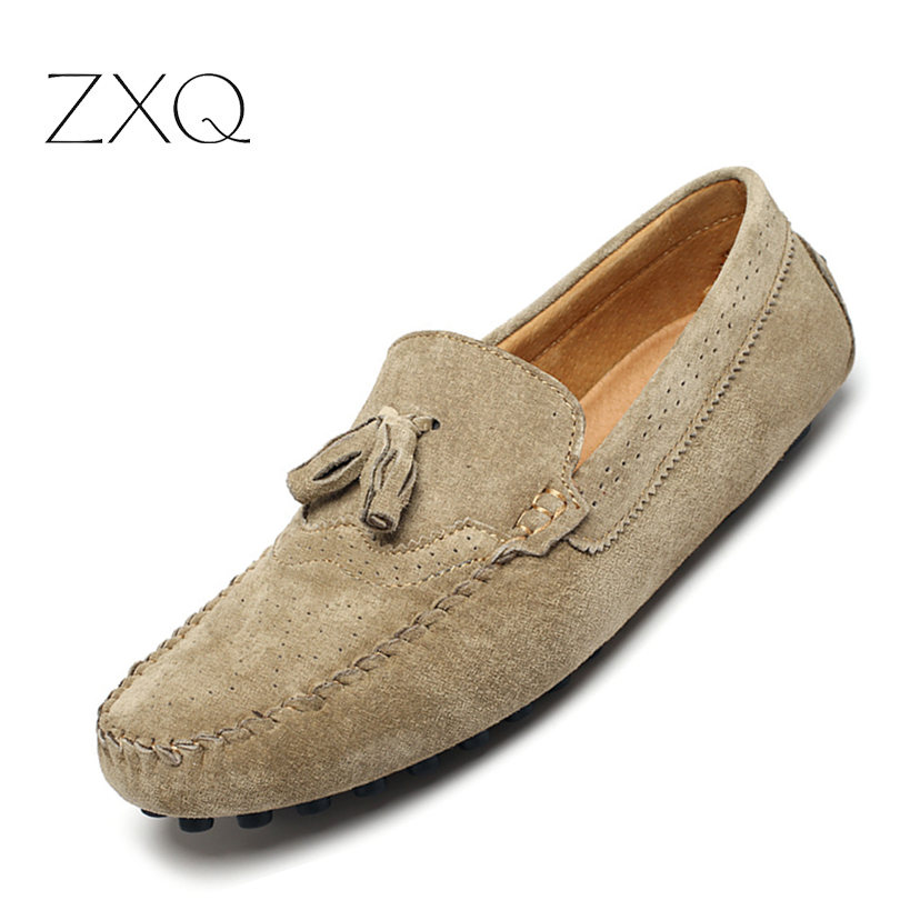 Men Loafers Cow Suede Leather Slip On Shoes British Style Breathable Bullock With Tassel Summer Driving Moccasins Flat Shoes new suede leather women shoes loafers slip on sewing driving flats tassel woman breathable moccasins blue ladies boat flat shoes