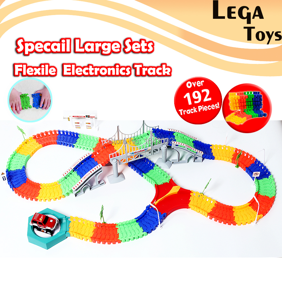 Flex Race Track Create-A-Road Deluxe 192 Piece Flexible Toy Track Electronics Track Roller Coaster Assemble Railway Rail Car Toy