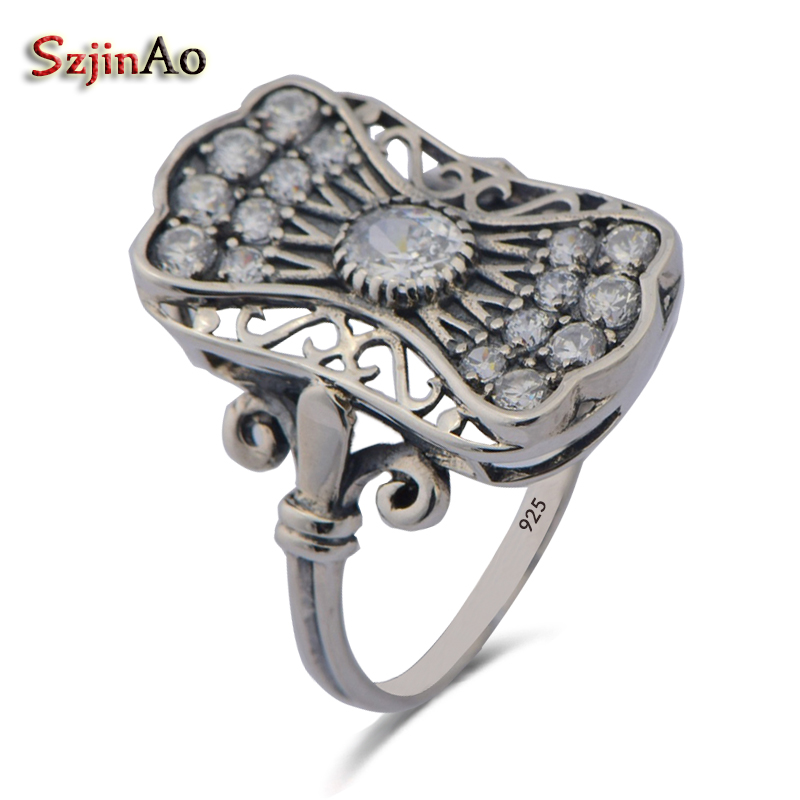 Szjinao New Brand Restoring Ancient Punk Wind Shining White Zircon Ring 925 Sterling Silver Rings for Women