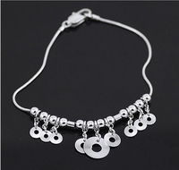 Free Shipping 925 Sterling Silver Hollow Loop Beads Simple Handcuffs Love Charm Bracelets Bangles For Women