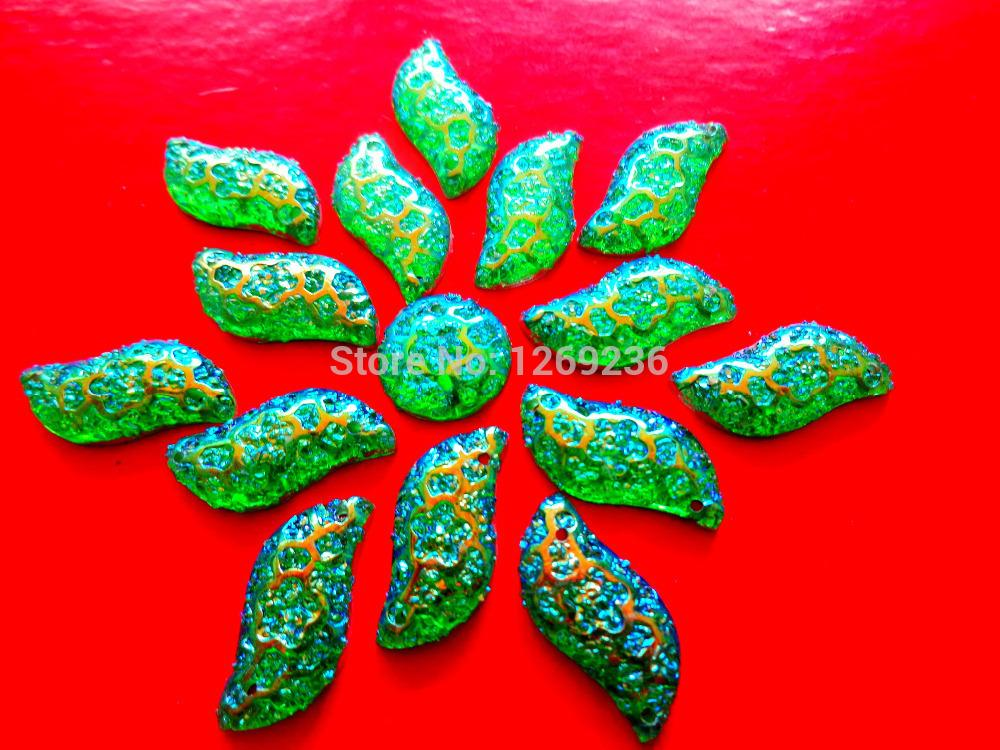 Promotion 120pcs 9*18mm S shape sew on Resin crystal Green AB Color Rhinestones Stones Accessores Loose Beads