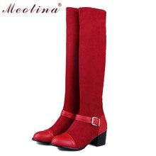 Meotinaผู้หญิงรองเท้าต้นขารองเท้าสูงฤดูใบไม้ผลิรอบนิ้วเท้าฝูงกลางส้นเข่าบู๊ทสูงขนาดใหญ่ขนาด9 10หัวเข็มขัดสีดำรองเท้าTC0