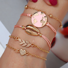 WNGMNGL Exquisite New Design 5/set Gold Leaf Heart Shell Mape Bead Bracelet For Women Pink Bangles Female Jewelry Lady Gift