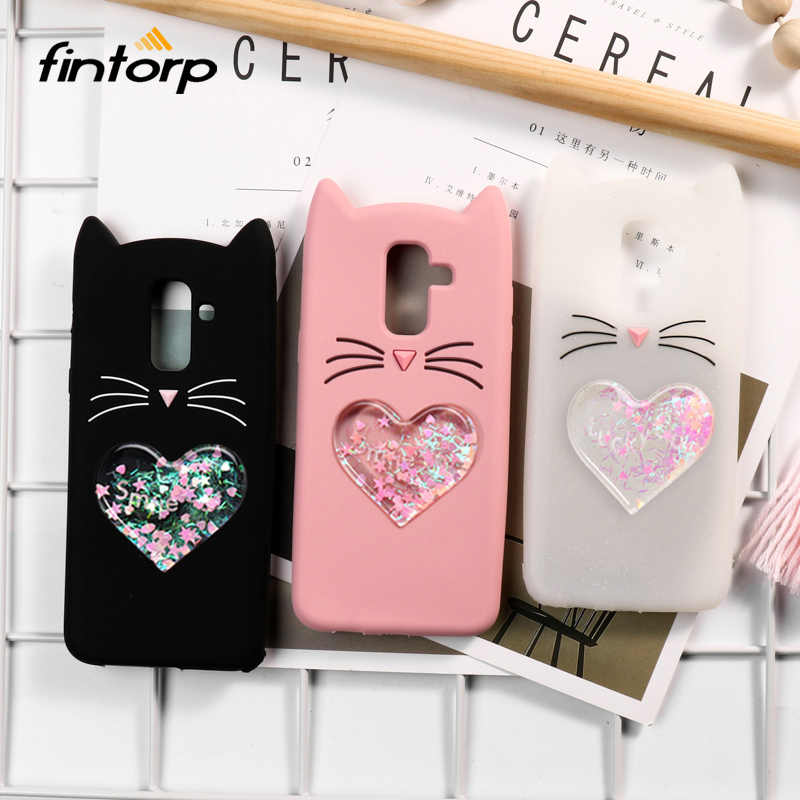 Cases for Samsung Galaxy J4 J6 Plus J2 Pro J8 2018 J3 J5 J7 2017 Case Liquid Quicksand Cat Cover for Samsung J2 J5 J7 Prime 2016