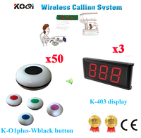 Electronic Table Calling Service System Waiter Display Receiver Transmitter In 433.92mhz(3 Display+50 Call Button)