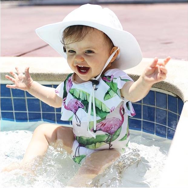 Летний детский купальник для девочки дети Фламинго цветочный принт цельный бикини с рюшами Детские бикини милый купальник для младенцев 13