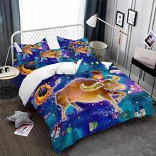 Купить с кэшбэком Dreamlike Cartoon Bedding Set Taurus Constellation Duvet Cover Set Kids Girls Bedding Colorful Bedclothes Pillowcase Home Decor