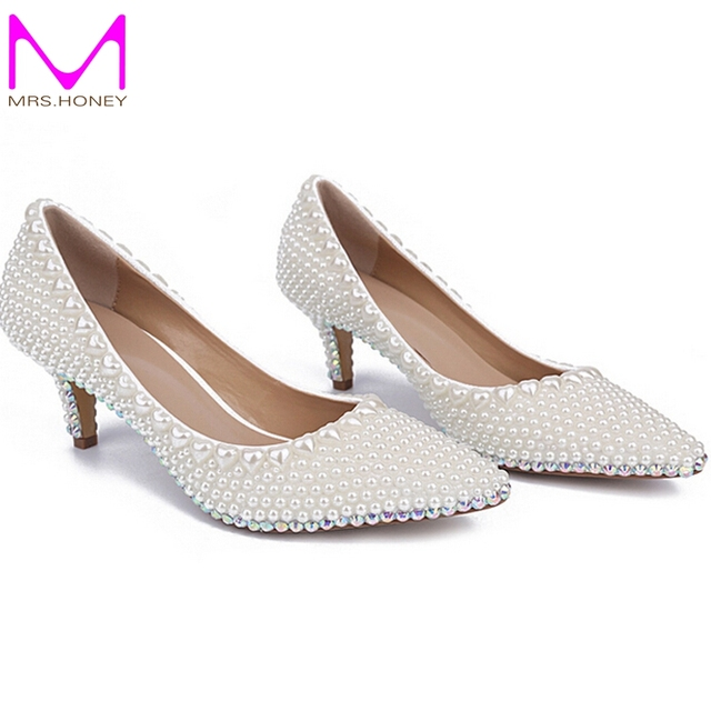 Kitten Heel Shoes Wedding Handmade Pearl Wedding Shoes Ivory Wedding ...