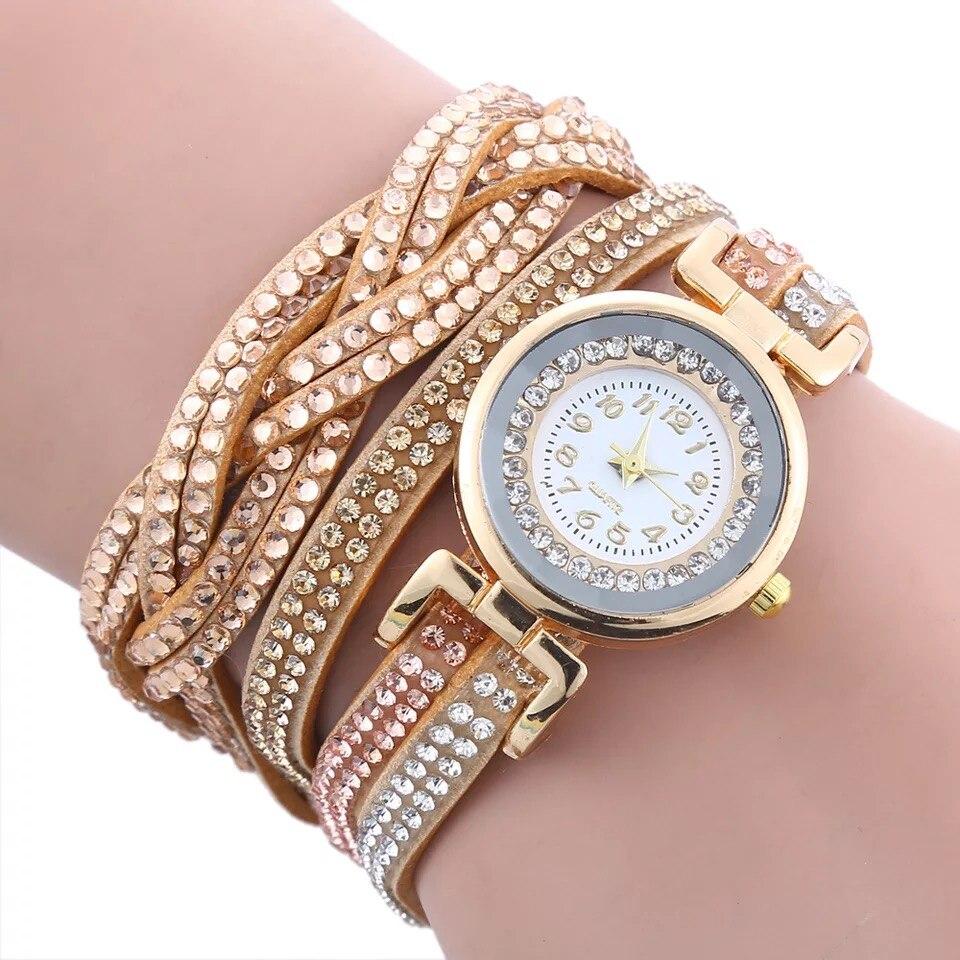 K H S P Brand Fashion Women bracelet & Wristwatch Women multi-function pave crystal Jewelry accessories watch
