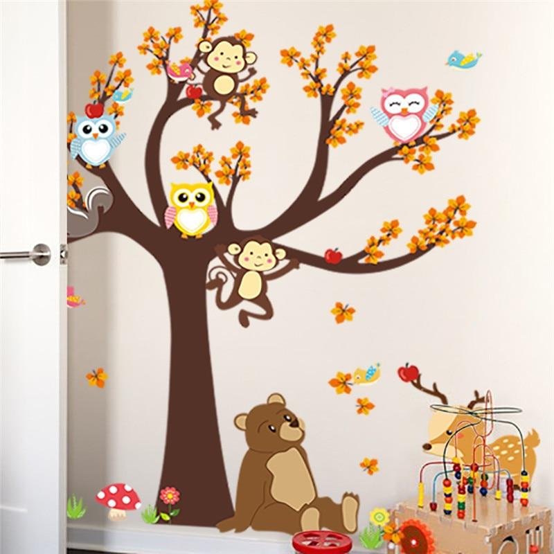 Настенные наклейки для детской комнаты с изображением мультяшного леса ветки дерева животных Совы обезьяны медведя оленя для мальчиков и девочек детская спальня домашний декор