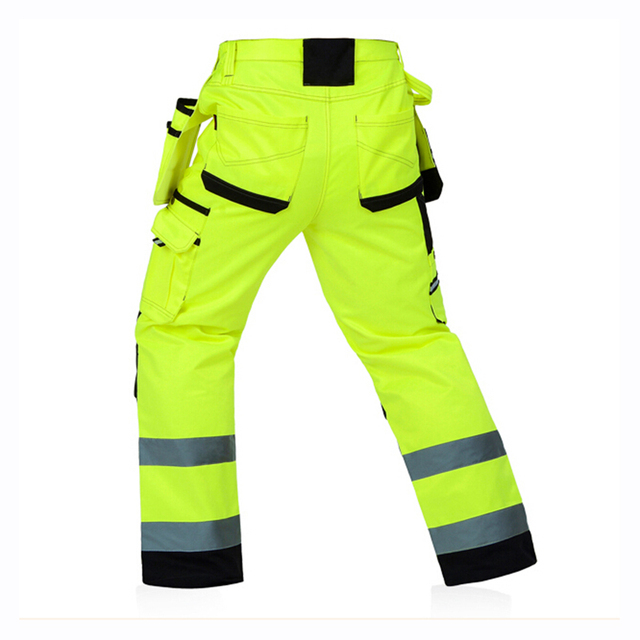 Reflective Men Working Pants High visibility Fluorescent Yellow Multi-pockets Work Trousers With Knee Pads Workwear Cargo Pants 1