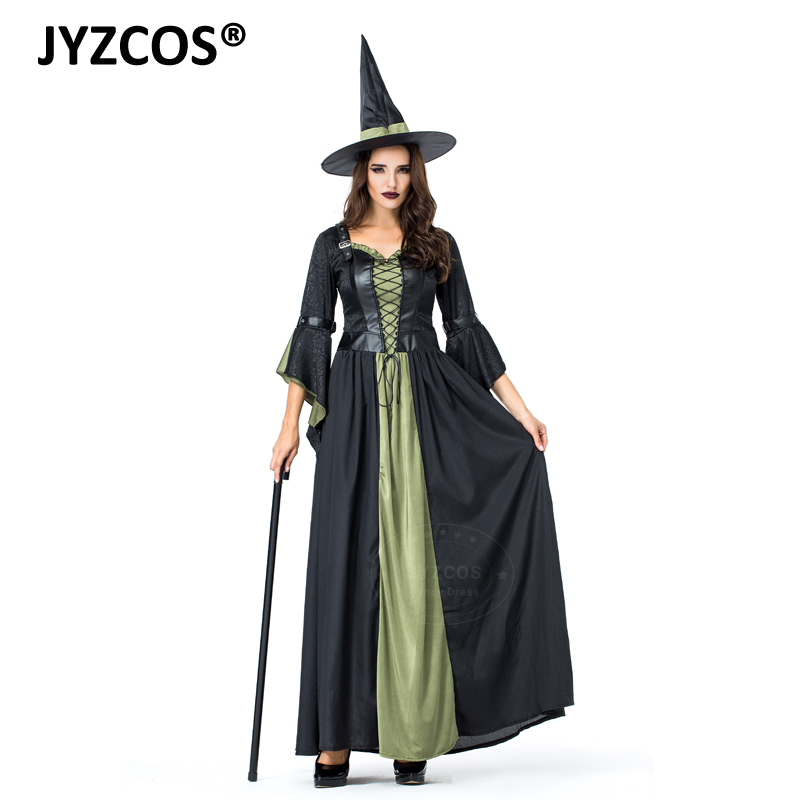 JYZCOS Adult Witch Costume Halloween Party Costume Sexy Women Witch Cosplay Costume Carnival Purim Costume Wizard Fancy Dress