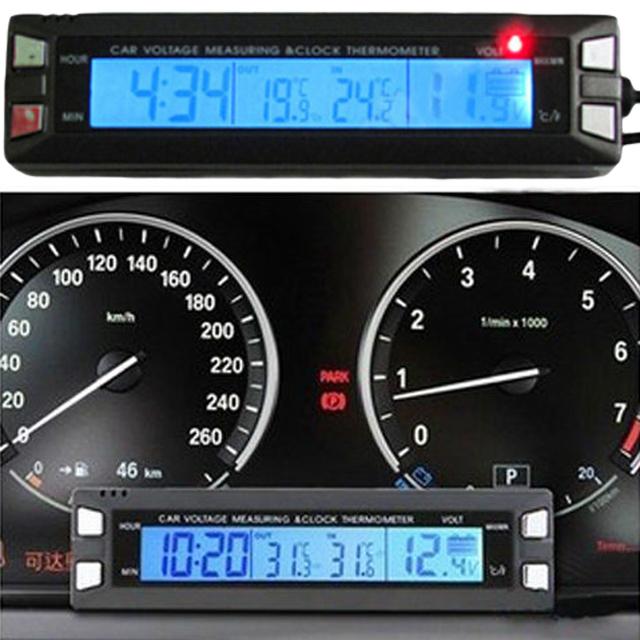 DC12/24 V Digtal Voltímetro Amarelo/Azul LCD Dual Display LCD de Alta Precisão Termômetro Digital para o Interior Do Carro alta qualidade