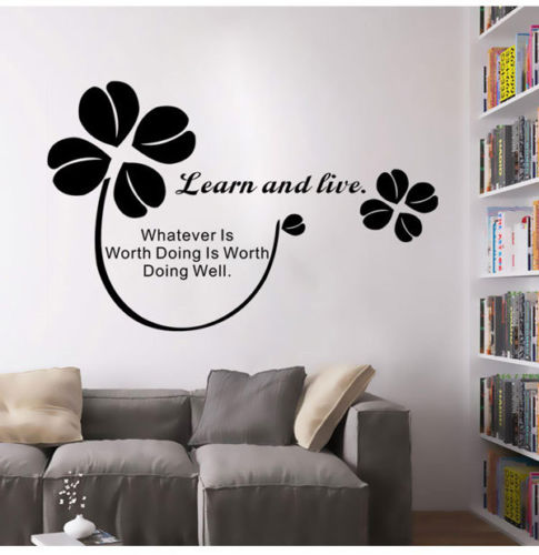 Wall Stickers Home Decor Living Room Learn Live Wall Quotes Inspirational Saying Art Mural Wall Decals Home Office Decor LA055