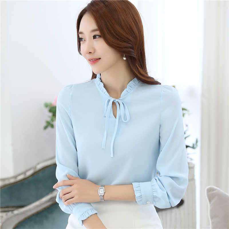 9a0d690599 ... Women Blouses New Fashion Tops casual loose Long Sleeve Bow Tie Lady  Chiffon Shirts Plus Size ...