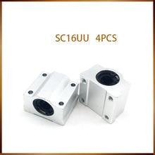 Sc16uu 4 pçs sc16uu sc16uu rolamentos de esferas de movimento linear peças cnc corrediça bloco bucha para 16mm eixo linear trilho guia peças cnc