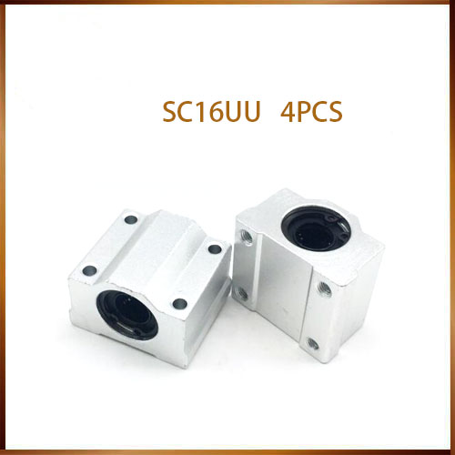 Sc16uu 4pcs SC16UU SCS16UU Linear motion ball bearings cnc parts slide block bushing for 16mm linear shaft guide rail CNC parts axk sc8uu scs8uu slide unit block bearing steel linear motion ball bearing slide bushing shaft cnc router diy 3d printer parts