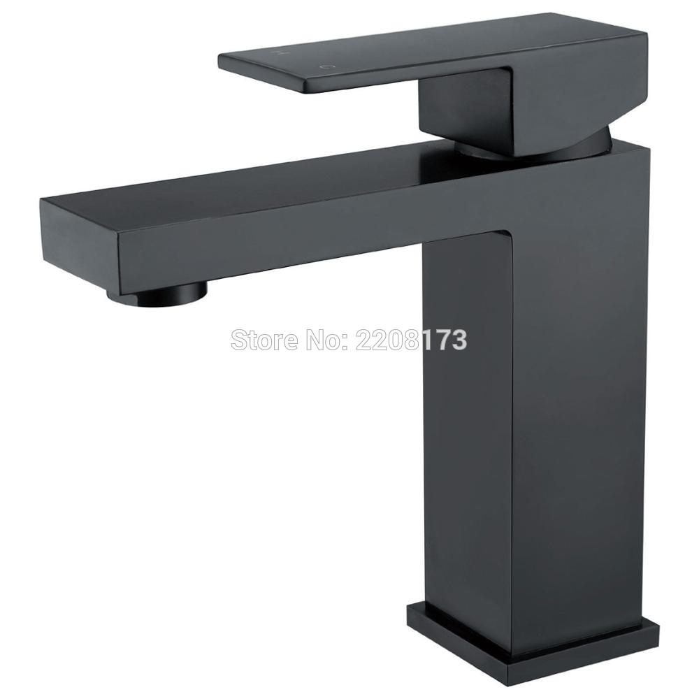 Smesiteli Basin Faucets Solid Brass Simple Deaign Deck Mount Vessel Faucet Matt Black Square Bathroom Small