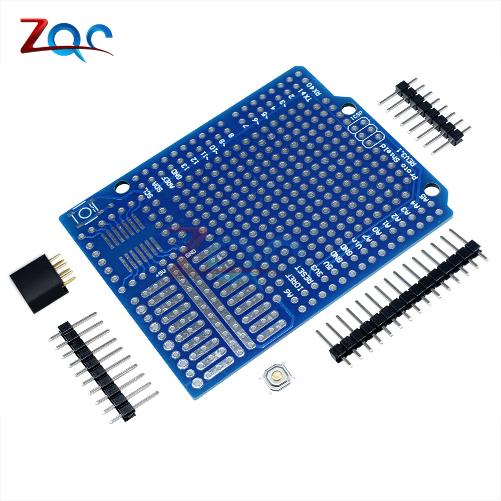 Standard Proto Screw Shield Board For Arduino Compatible Improved version support A6 A7 double-side PCB stud prototype expansion board red green black proto screw shield assembled