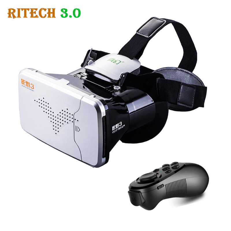 <font><b>RITECH</b></font> III <font><b>VR</b></font> <font><b>Virtual</b></font> <font><b>Reality</b></font> 3D <font><b>Glasses</b></font> Headset Head Mount VRBOX <font><b>Max</b></font> Cardboard Movie Game + Bluetooth Remote Controller