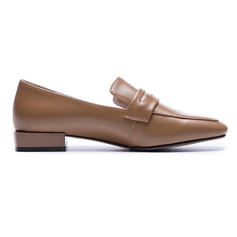 XiuNingYanโลฟเฟอร์เพนนีผู้หญิงหนังแกะแตะวัวหนังใบบนแฟลตพื้นฐานบวกขนาดใหญ่ขนาดรองเท้าที่ทำด้วยมือผู้หญิงO Xfords-ใน รองเท้าส้นเตี้ยสตรี จาก รองเท้า บน   3