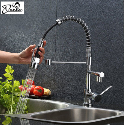 Contemporary Chrome Kitchen Faucet Pull Out Swivel Spout Kitchen Mixer Tap Single Handle Hot Cold Water Kitchen Sink Faucet