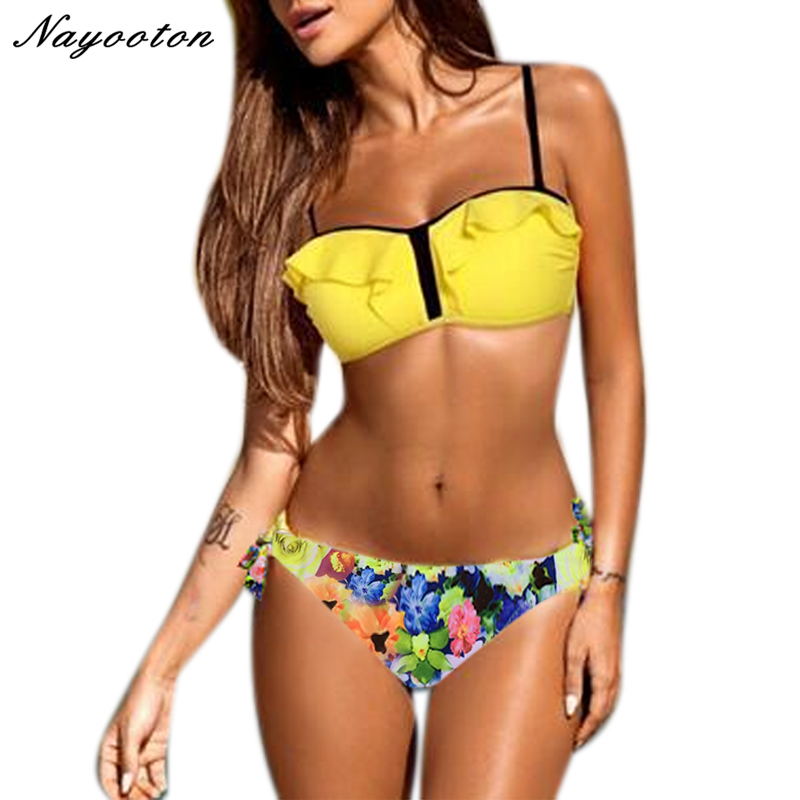 swimwear women sexy bikini 2018 push up high waist swimsuit plus size 2xl Print Floral biquini maillot de bain femme bathingsuit