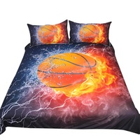 3D Printing Bedding Set Plant Quilt Cover Home Bed Set Basketball Bedclothes @LS