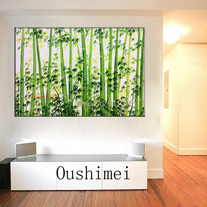 Buy wall landscape hand painted bamboo forest picture home decor oil painting - Home decor stores mn paint ...