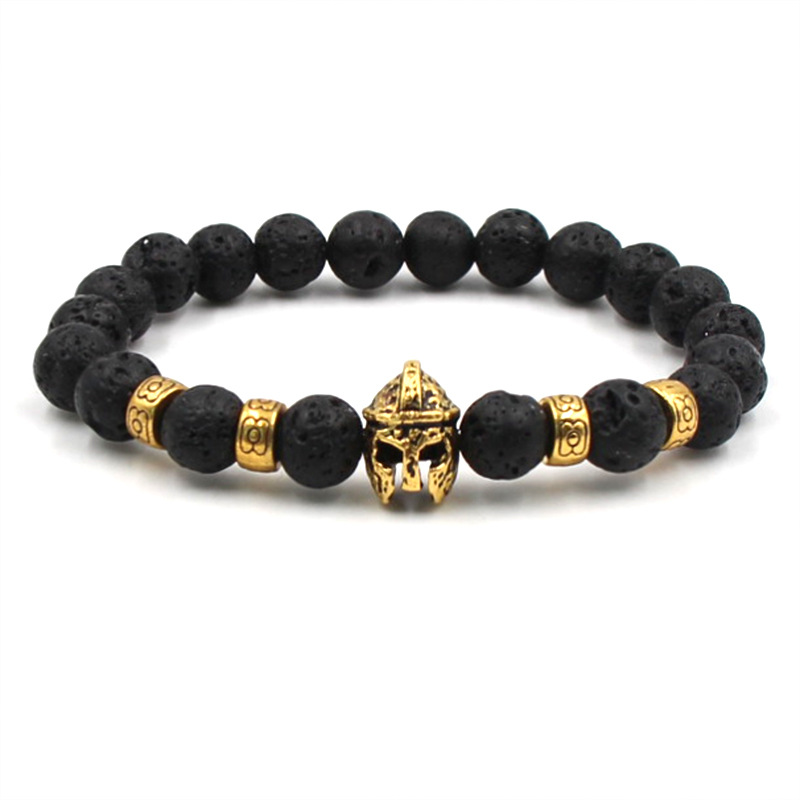 2019 Simple fashion handmade natural stone black beaded men's golden knight bracelet mature lucky jewelry birthday gift