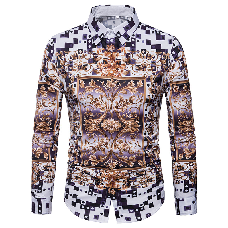 Men 39 s spring casual 2018 New Arrivals shirt fashion personality 3D pattern printing leisure color long sleeved Shirts EU US size in Casual Shirts from Men 39 s Clothing