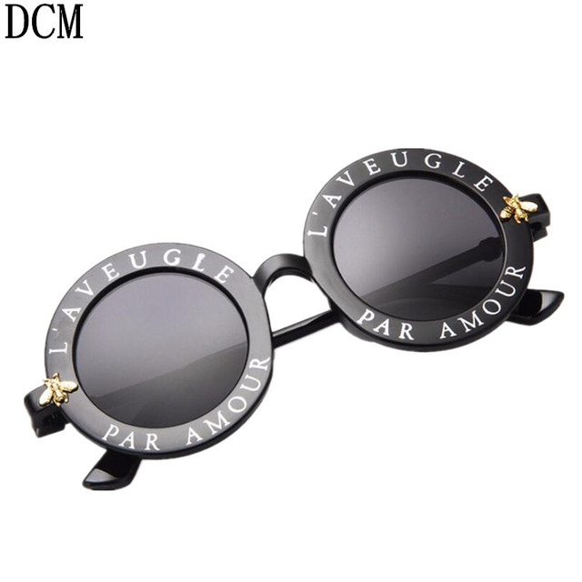Retro Round Sunglasses English Letters Little Bee Sun Glasses Men Women Brand Glasses Designer Fashion Male Female