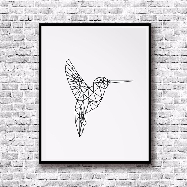 Bon Hummingbird Print Art Canvas Poste, Art Printables, Printable Spring Wall  Art, Geometric Animals