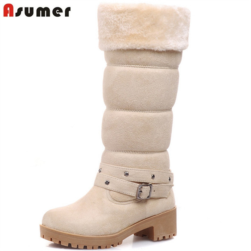 Asumer Winter boots for women keep warm platform shoes woman PU plush mid calf boots round toe snow boots big size 34-43 new arrival 2016 winter keep warm women boots low heel round toe platform shoes solid genuine leather mid calf boots