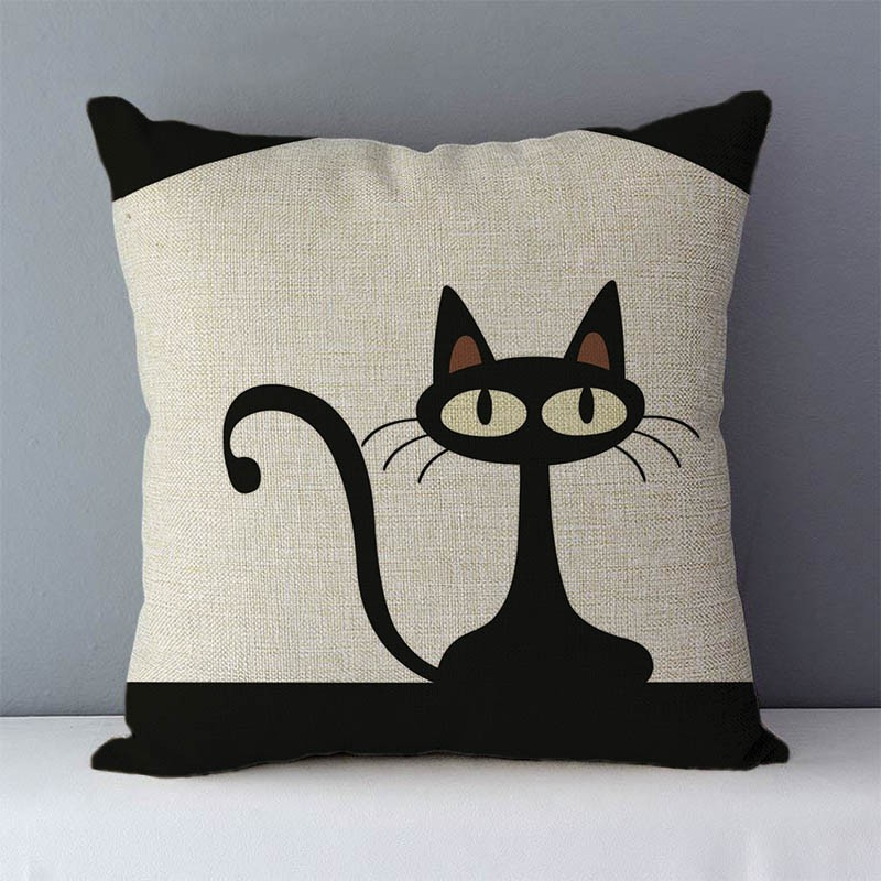 HTB1lUKjXcvrK1Rjy0Feq6ATmVXaM Selected Couch cushion Cartoon cat printed quality cotton linen home decorative pillows kids bedroom Decor pillowcase wholesale