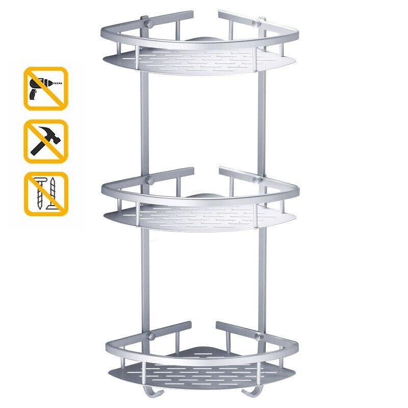 Drill Free Bath Room Wall Shelves Shower Corner Shelf  3 Tiers Bath Caddy Shelving  Bathroom Accessories Organizer Triangle
